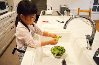 家庭科 女の子 野菜 お手伝い