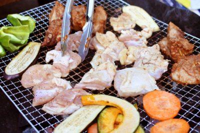 上野村 川遊び バーベキュー 肉 野菜